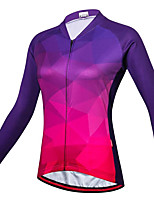 cheap -21Grams Women's Long Sleeve Cycling Jersey Spandex Purple Gradient Bike Top Mountain Bike MTB Road Bike Cycling Quick Dry Moisture Wicking Sports Clothing Apparel / Stretchy / Athleisure