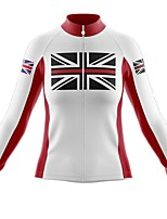 cheap -21Grams Women's Long Sleeve Cycling Jersey Spandex Red and White UK National Flag Bike Top Mountain Bike MTB Road Bike Cycling Quick Dry Moisture Wicking Sports Clothing Apparel / Stretchy