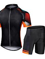 cheap -CAWANFLY Men's Short Sleeve Cycling Jersey with Shorts Summer Black Bike Sports Geometic Mountain Bike MTB Road Bike Cycling Clothing Apparel / Micro-elastic / Athleisure / Triathlon