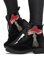 cheap -Women's Boots Chunky Heel Round Toe Rubber PU Black