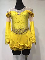 cheap -Figure Skating Dress Women's Girls' Ice Skating Dress Yellow Patchwork Halo Dyeing Spandex High Elasticity Training Competition Skating Wear Handmade Patchwork Crystal / Rhinestone Long Sleeve Ice