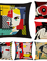 cheap -Art Colorful Double Side Cushion Cover 6PC Soft Decorative Square Throw Pillow Cover Cushion Case Pillowcase for Bedroom Livingroom Superior Quality Machine Washable Indoor Cushion for Sofa Couch Bed Chair