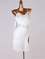 cheap -Latin Dance Dress Tassel Crystals / Rhinestones Women's Performance Daily Wear Sleeveless Spandex