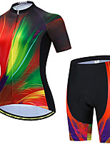 cheap -21Grams Women's Short Sleeve Cycling Jersey with Shorts Summer Spandex Red Stripes Gradient Bike Quick Dry Moisture Wicking Sports Stripes Mountain Bike MTB Road Bike Cycling Clothing Apparel