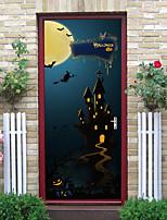 cheap -Halloween 2pcs Self-adhesive Horror Classic Scene Door Sticker Living Room Diy Decoration Home Waterproof Wall Sticker 77x200cm