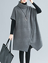 cheap -Women's Sweater Jumper Dress Knee Length Dress Wine Army Green Gray Black Short Sleeve Solid Color Patchwork Fall Winter Turtleneck Casual 2021 L XL / Long Sleeve