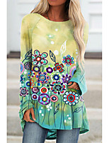 cheap -Women's Floral Theme Painting T shirt Floral Graphic Long Sleeve Print Round Neck Basic Tops Blue Yellow Blushing Pink
