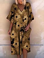 cheap -Women's T Shirt Dress Tee Dress Knee Length Dress Blue Green Red Brown Short Sleeve Floral Print Summer V Neck Casual 2021 S M L XL XXL 3XL 4XL
