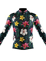 cheap -21Grams Men's Long Sleeve Cycling Jersey Spandex Polyester Green Floral Botanical Funny Bike Top Mountain Bike MTB Road Bike Cycling Quick Dry Moisture Wicking Breathable Sports Clothing Apparel