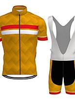 cheap -CAWANFLY Men's Short Sleeve Cycling Jersey with Bib Shorts Summer Orange+White Bike Sports Geometic Mountain Bike MTB Road Bike Cycling Clothing Apparel / Micro-elastic / Athleisure / Triathlon