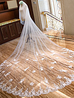 cheap -Two-tier Classic Style Wedding Veil Chapel Veils with Embroidery / Appliques 157.48 in (400cm) Tulle