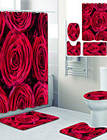 cheap -Rose Flower Printed Bathroom Home Decoration Bathroom Shower Curtain lining waterproof shower curtain with 12 hooks floor mats and four-piece toilet mats.