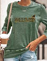 cheap -Women's Halloween Cat Painting T shirt Cat Text Long Sleeve Print Round Neck Basic Halloween Tops Cotton Blue Yellow Gray