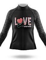 cheap -21Grams Women's Long Sleeve Cycling Jersey Spandex Polyester Black Heart Funny Bike Top Mountain Bike MTB Road Bike Cycling Quick Dry Moisture Wicking Breathable Sports Clothing Apparel / Stretchy