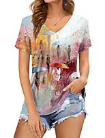cheap -Women's Geometric T shirt Polka Dot Color Gradient Print V Neck Basic Tops Blushing Pink