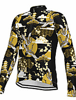 cheap -21Grams Men's Long Sleeve Cycling Jersey Spandex Polyester Yellow 3D Funny Animal Bike Top Mountain Bike MTB Road Bike Cycling Quick Dry Moisture Wicking Breathable Sports Clothing Apparel