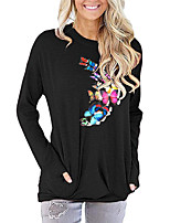 cheap -Women's Painting T shirt Graphic Butterfly Long Sleeve Print Round Neck Basic Vintage Tops Regular Fit Cotton Blushing Pink Green Light gray