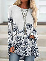 cheap -Women's 3D Printed T shirt Floral Long Sleeve Print Round Neck Basic Tops Gray