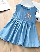 cheap -[90-130cm] sweet denim embroidered sleeveless dress for girls