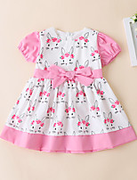 cheap -cute rabbit print pink puff sleeve bow white short sleeve dress