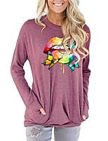 cheap -Women's Painting T shirt Rainbow Butterfly Lip Long Sleeve Print Round Neck Basic Vintage Tops Regular Fit Cotton Blushing Pink Green Light gray