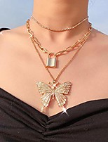 cheap -sparkly rhinestone layered necklace gold butterfly pendant choker dainty lock link paperclip chain birthday party costume jewelry for women and girls