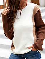 cheap -Women's Pullover Sweater Knitted Striped Stylish Long Sleeve Slim Sweater Cardigans Crew Neck Fall Winter Dark Gray Brown / Going out