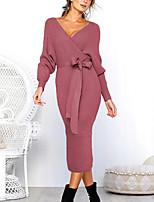 cheap -Women's Sheath Dress Midi Dress Purple Yellow Gray Black Brown Light Blue Long Sleeve Solid Color Lace up Fall V Neck Work Elegant Casual 2021 S M L XL XXL