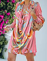 cheap -Women's Shift Dress Short Mini Dress Blushing Pink Brown Long Sleeve Color Block Leopard Ruched Print Fall V Neck Casual 2021 S M L XL XXL