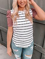 cheap -Women's T shirt Striped Leopard Patchwork Print Round Neck Basic Tops White