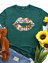 cheap -Women's T shirt Floral Graphic Lip Print Round Neck Basic Vintage Tops Regular Fit Blue Blushing Pink Wine