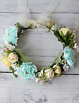 cheap -Vintage Bridal Wreath Headdress Simulation Flowers Wrapped Flower Headband Hanfu Selfie Wedding Photo Head Wreath Female