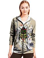 cheap -Women's Zip Up Hoodie Sweatshirt Bee Animal Print Casual Daily 3D Print Basic Streetwear Hoodies Sweatshirts  Khaki
