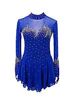 cheap -Figure Skating Dress Women's Girls' Ice Skating Dress Blue Patchwork Asymmetric Hem Spandex High Elasticity Competition Skating Wear Handmade Crystal / Rhinestone Long Sleeve Ice Skating Figure