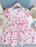 cheap -Kids Little Girls' Dress Flower / Floral Rose red pre-shoot Rose Red Short Sleeve Cute Dresses Summer