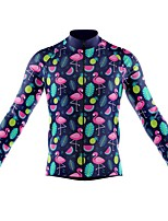 cheap -21Grams Men's Long Sleeve Cycling Jersey Spandex Polyester Dark Blue Flamingo Funny Fruit Bike Top Mountain Bike MTB Road Bike Cycling Quick Dry Moisture Wicking Breathable Sports Clothing Apparel