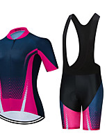 cheap -CAWANFLY Women's Short Sleeve Cycling Jersey with Bib Shorts Summer Spandex Pink / Black Bike Sports Geometic Mountain Bike MTB Road Bike Cycling Clothing Apparel / Micro-elastic / Athleisure