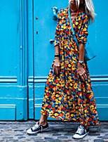 cheap -Women's A Line Dress Maxi long Dress Blue Purple Khaki Red Long Sleeve Floral Print Fall V Neck Casual Puff Sleeve 2021 S M L XL XXL