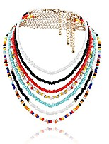 cheap -bohemian bead necklace colorful layered choker set seed bead jewelry accessories for women and girls