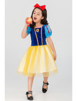 cheap -Princess Dress Cosplay Costume Kid's Girls' Halloween Christmas Halloween Halloween Children's Day Masquerade Festival / Holiday Terylene Yellow+Blue Easy Carnival Costumes Solid Color / Headwear