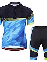 cheap -CAWANFLY Men's Short Sleeve Cycling Jersey with Shorts Summer Bule / Black Bike Sports Geometic Mountain Bike MTB Road Bike Cycling Clothing Apparel / Micro-elastic / Athleisure / Triathlon