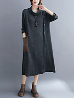 cheap -Women's Loose Midi Dress Grey Black Half Sleeve Solid Color Button Fall Spring Round Neck Casual 2021 L XL