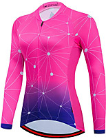 cheap -21Grams Women's Long Sleeve Cycling Jersey Spandex Polyester Rose Red Gradient Funny Bike Top Mountain Bike MTB Road Bike Cycling Quick Dry Moisture Wicking Breathable Sports Clothing Apparel
