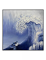 cheap -Oil Painting Handmade Hand Painted Wall Art Square Contemporary Waves Landscape Home Decoration Decor Rolled Canvas No Frame Unstretched