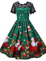 cheap -Santa Suit Audrey Hepburn Dress Swing Dress Adults' Women's Vintage Festival Christmas New Year Festival / Holiday Terylene Blue / Green / Black Women's Easy Carnival Costumes Polka Dot Christmas