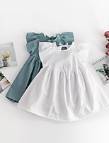 cheap -[12m-5y]girls solid color flying sleeve round neck dress