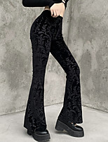 cheap -Women's Fashion Streetwear Comfort Culottes Wide Leg Velvet Slim Casual Weekend Pants Flower / Floral Full Length Wide Leg Elastic Waist Print Black