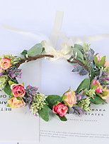 cheap -Flower Wreath Headgear Simulation Green Plant Bud Hair Accessories Show Location Head Flower Jewelry