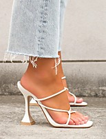 cheap -Women's Sandals High Heel Square Toe Rubber PU White Black