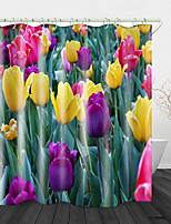 cheap -Beautiful Tulips Print Waterproof Fabric Shower Curtain for Bathroom Home Decor Covered Bathtub Curtains Liner Includes with Hooks